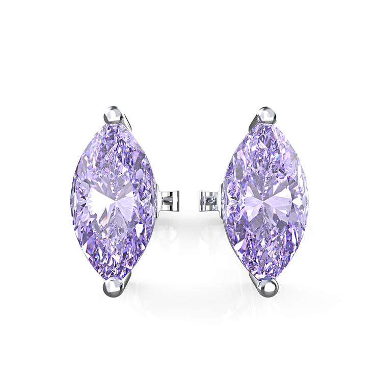 Wiley Hart Women's Marquise Cut Purple Lab Created Sapphire Wedding Earrings for Brides Bridal Earrings  in 14K White Gold or Sterling Silver