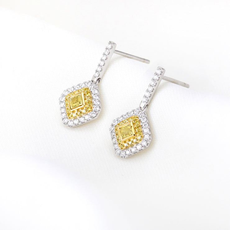 Wiley Hart Hallow Yellow Lab Created Sapphire Radiant Cut Diamond Wedding Earrings Bridal Drop Earrings White Gold or Silver