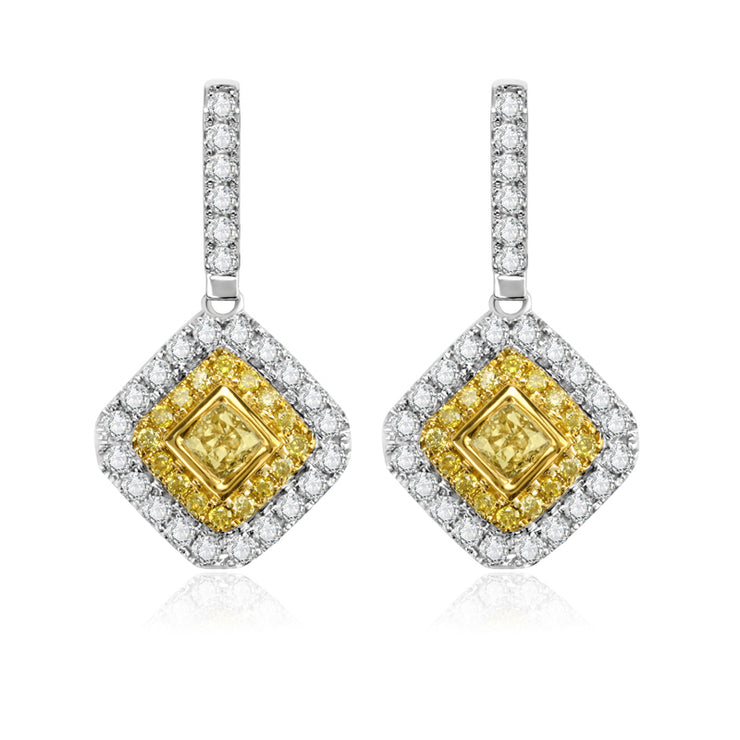 Wiley Hart Hallow Yellow Lab Created Sapphire Radiant Cut Wedding Earrings Bridal Drop Earrings in 14k White Gold or Silver