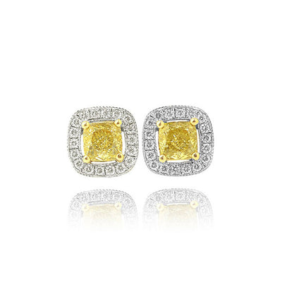 Wiley Hart Yellow Lab Created Sapphire Hallow Radiant Cut Wedding Earrings Diamond Stud Earrings White Gold or Sterling Silver