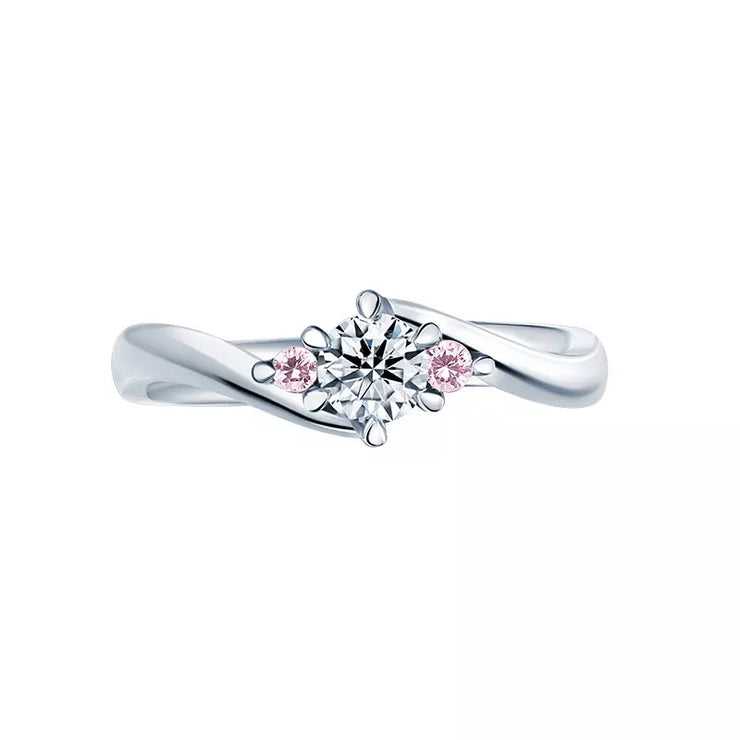 Wiley Hart True Love Pink & White Sapphire Engagement Ring Wedding Ring in White Gold or Sterling Silver