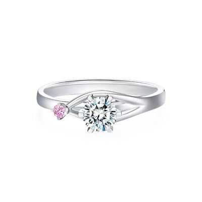 Wiley Hart You and I Pink & White Sapphire Engagement Ring Wedding Ring White Gold or Sterling Silver