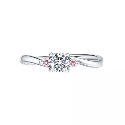 Wiley Hart Love You Pink & White Sapphire Engagement Ring Wedding Ring White Gold or Sterling Silver