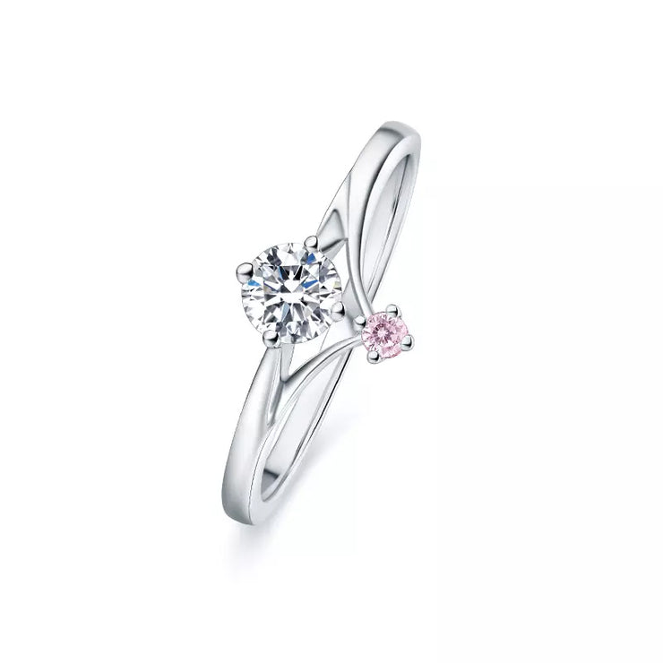 Wiley Hart Princess Pink & White Sapphire Engagement Ring Wedding Ring White Gold or Sterling Silver