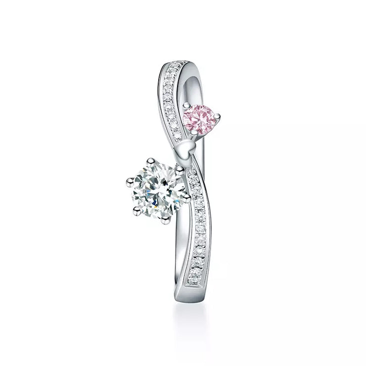 Wiley Hart Heart for You Pink & White Sapphire Engagement Ring Wedding Ring