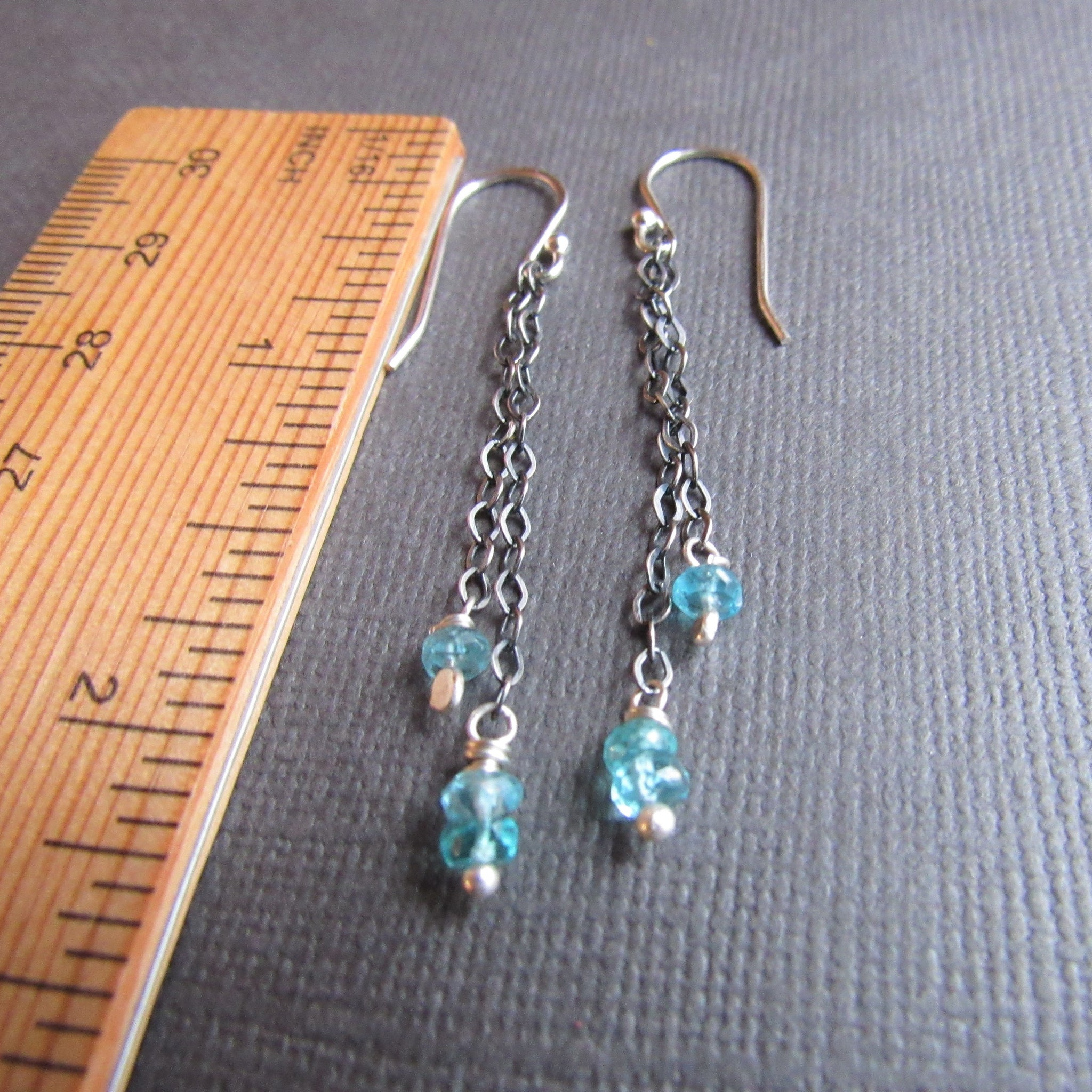 Aqua Apatite  Tassel Earrings