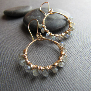 Gold Hoops with Labradorite Beads