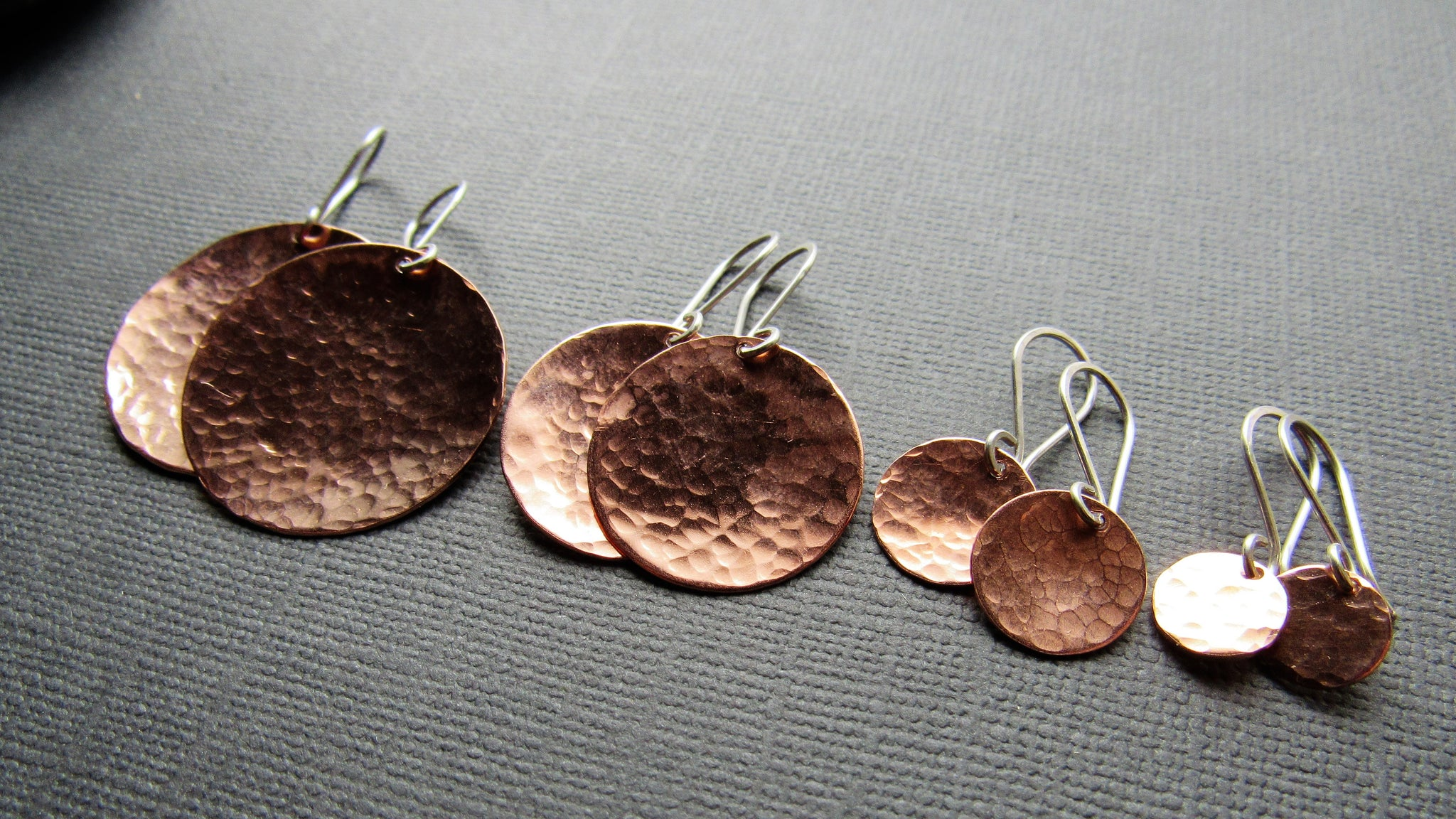 Hammered Copper Coin Earrings - Four Sizes
