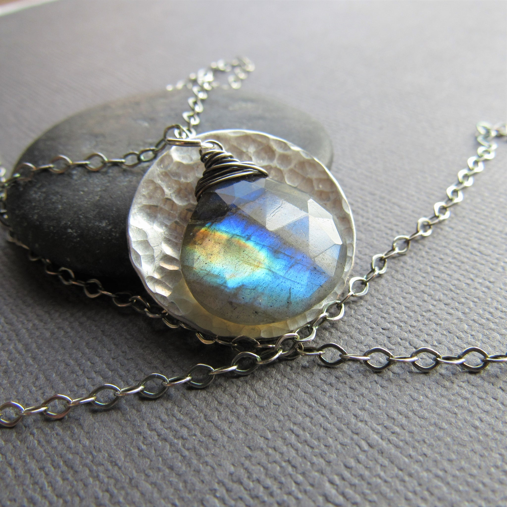 Hammered Sterling Coin & Labradorite Necklace