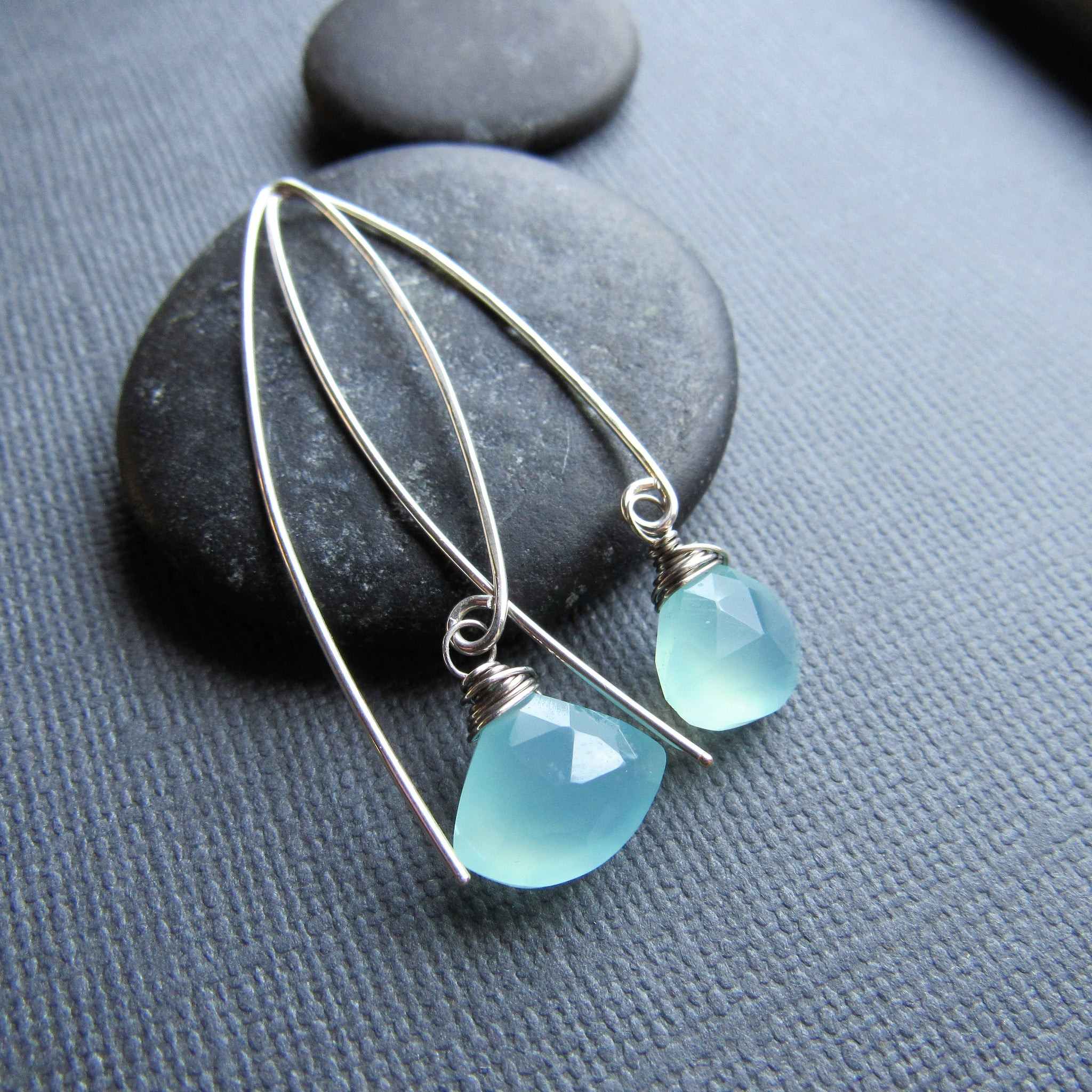 Triangle Shaped Aqua Chalcedony Threader Earrings