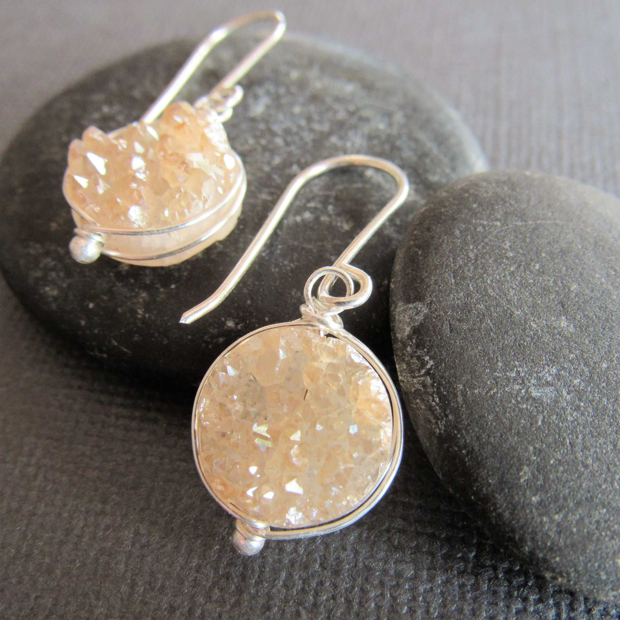 Champagne Colored Druzy Earrings