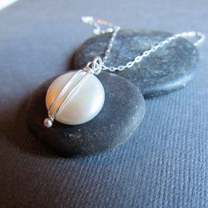 Large White Coin Pearl Necklace