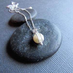 Petite White Coin Pearl Necklace