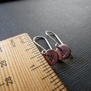 Petite Copper Stamped Tree Earrings