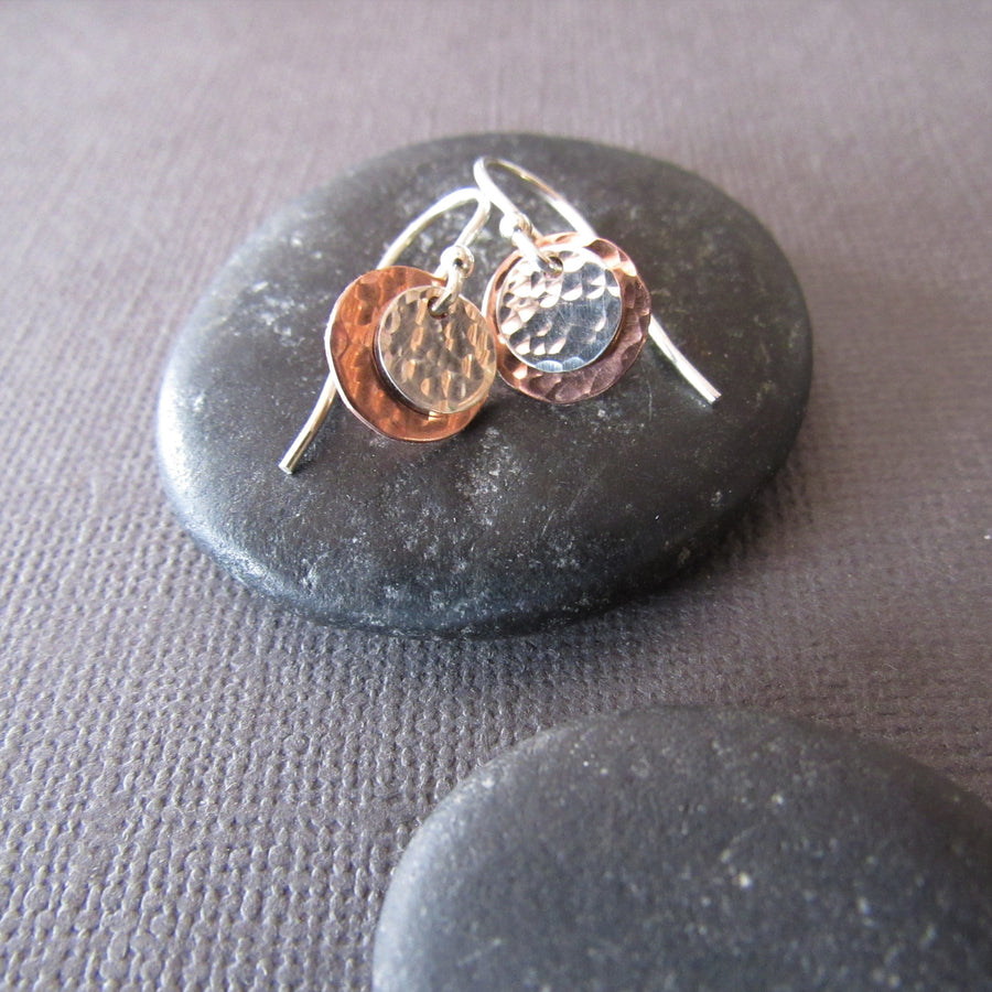 Copper & Sterling Silver Coin Earrings