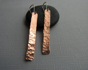 "Long Copper Stick Style Earrings 2.5"" Long"
