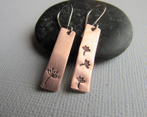 Make a wish copper dandelion earrings