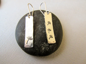Sterling Silver Stamped Dandelion Earrings
