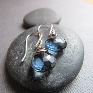 Dark Blue Quartz Earrings