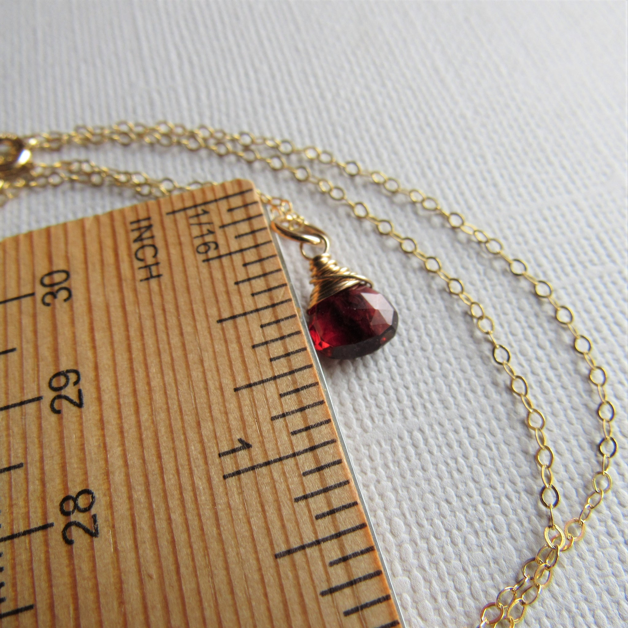 Petite Garnet and Gold Necklace