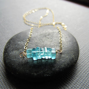Ocean Blue Apatite & Gold  Necklace