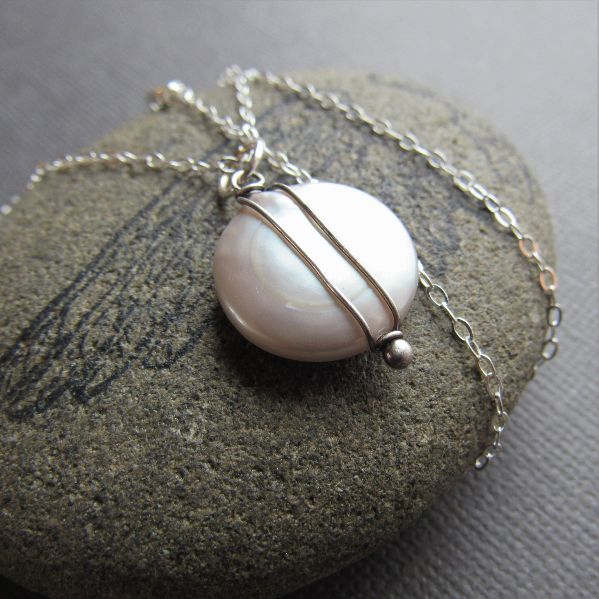 Silver Coin Pearl Necklace