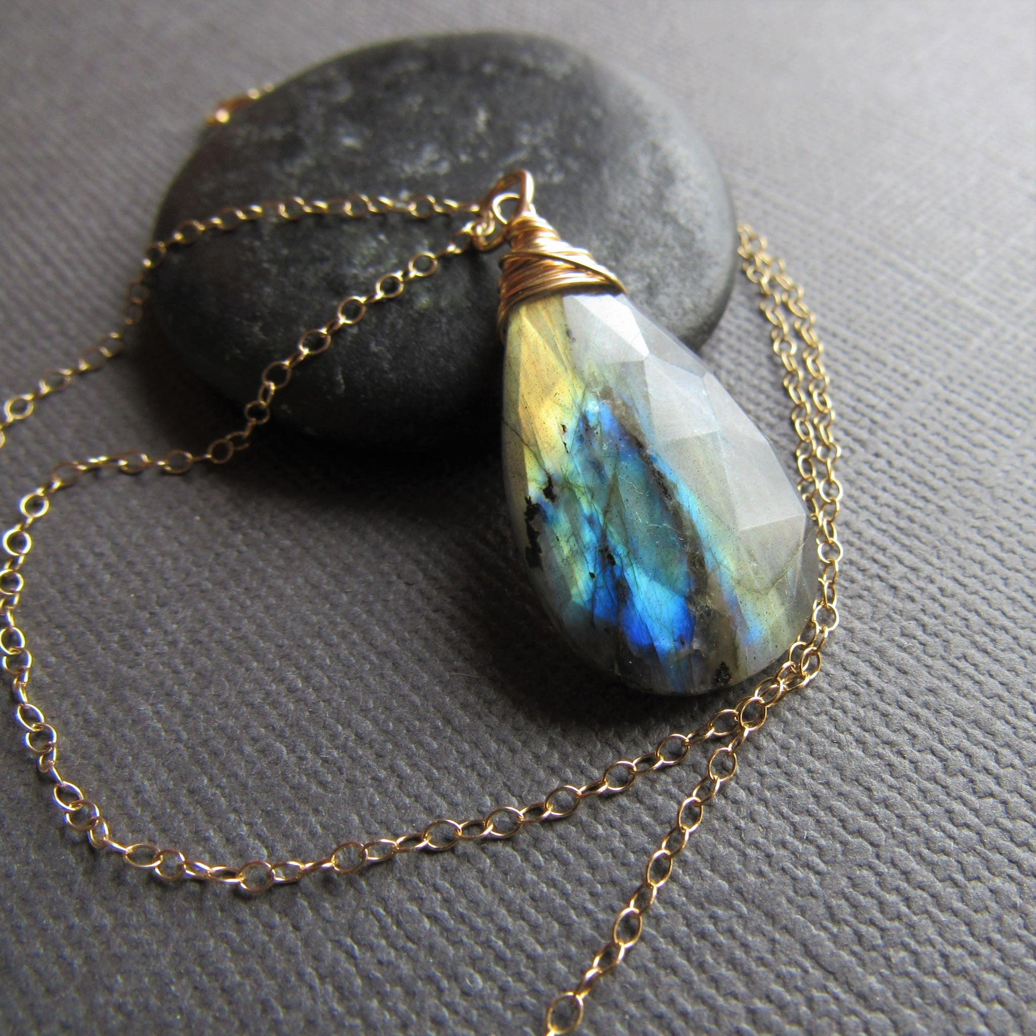 Large Labradorite & Gold Necklace
