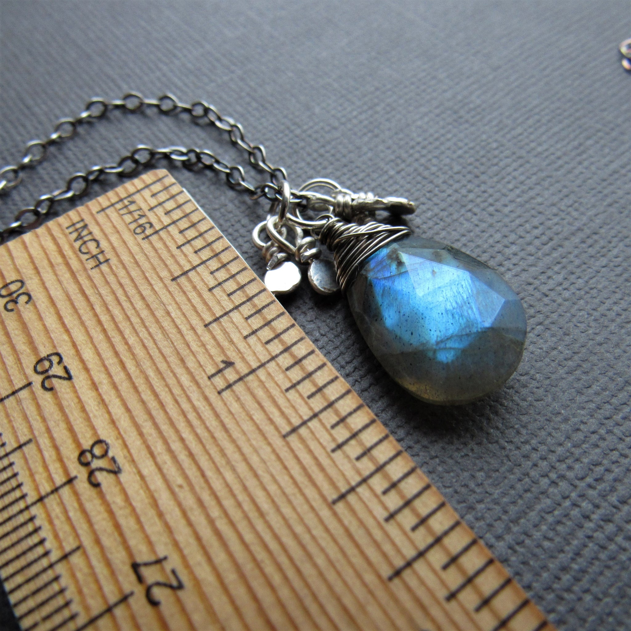 Labradorite and Silver Charm Necklace