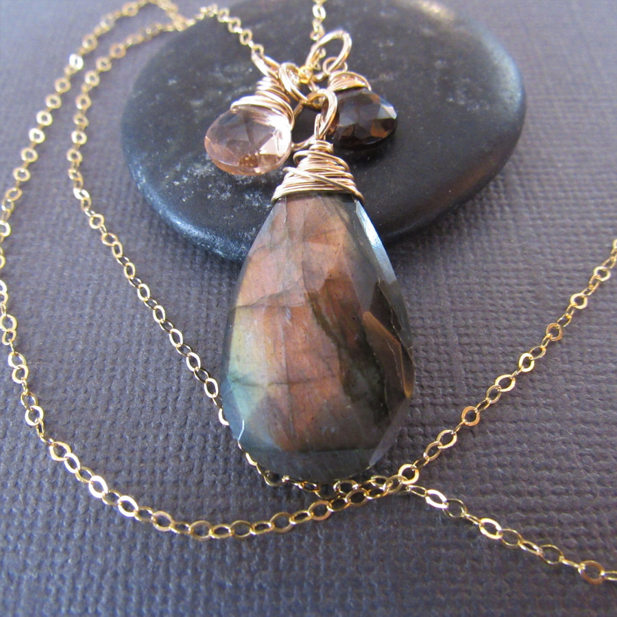 Labradorite | Peach Quartz | Smokey Topaz | Gold Necklace