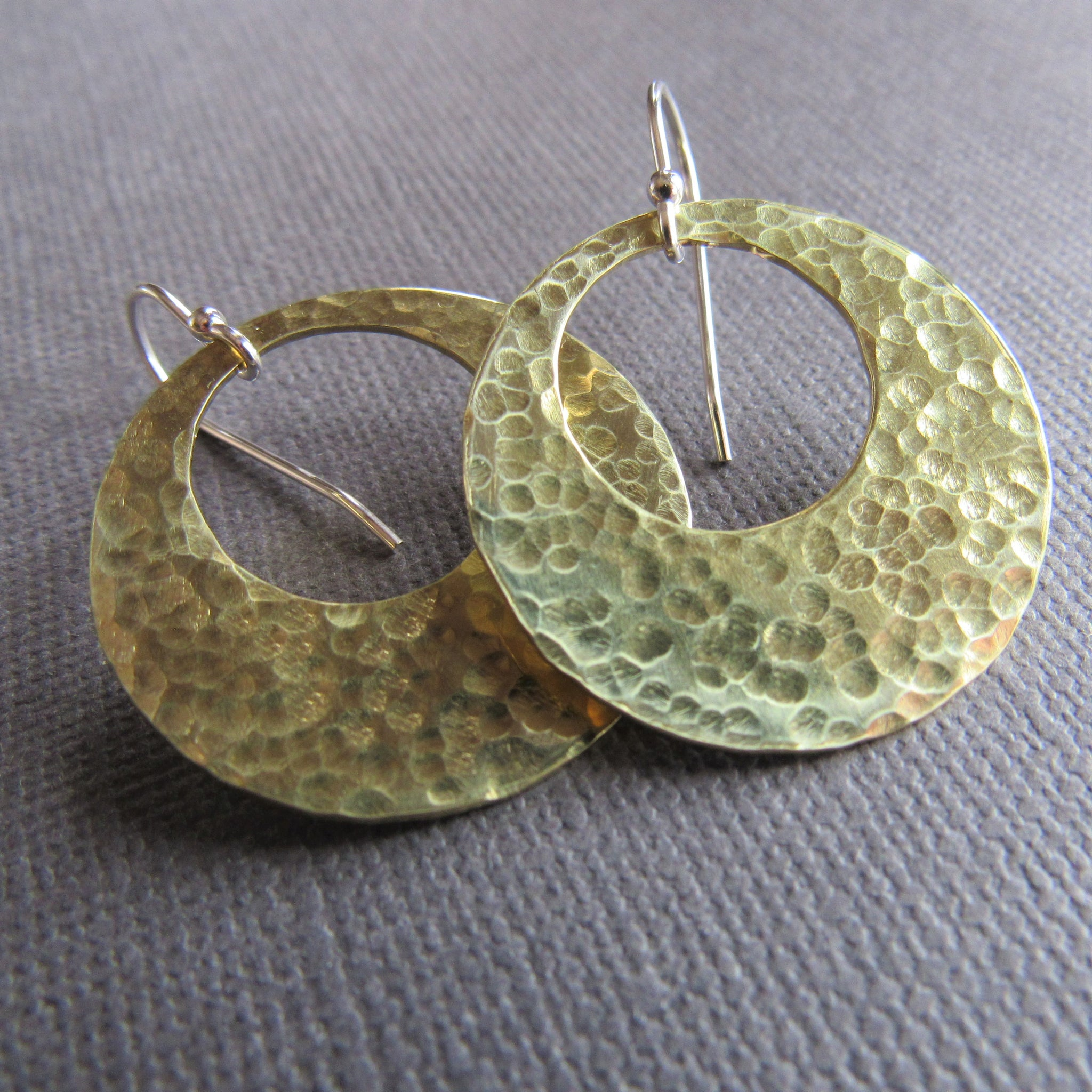 Large Brass Eclipse Earrings