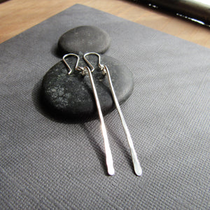 Long Minimalist Silver Bar Earrings