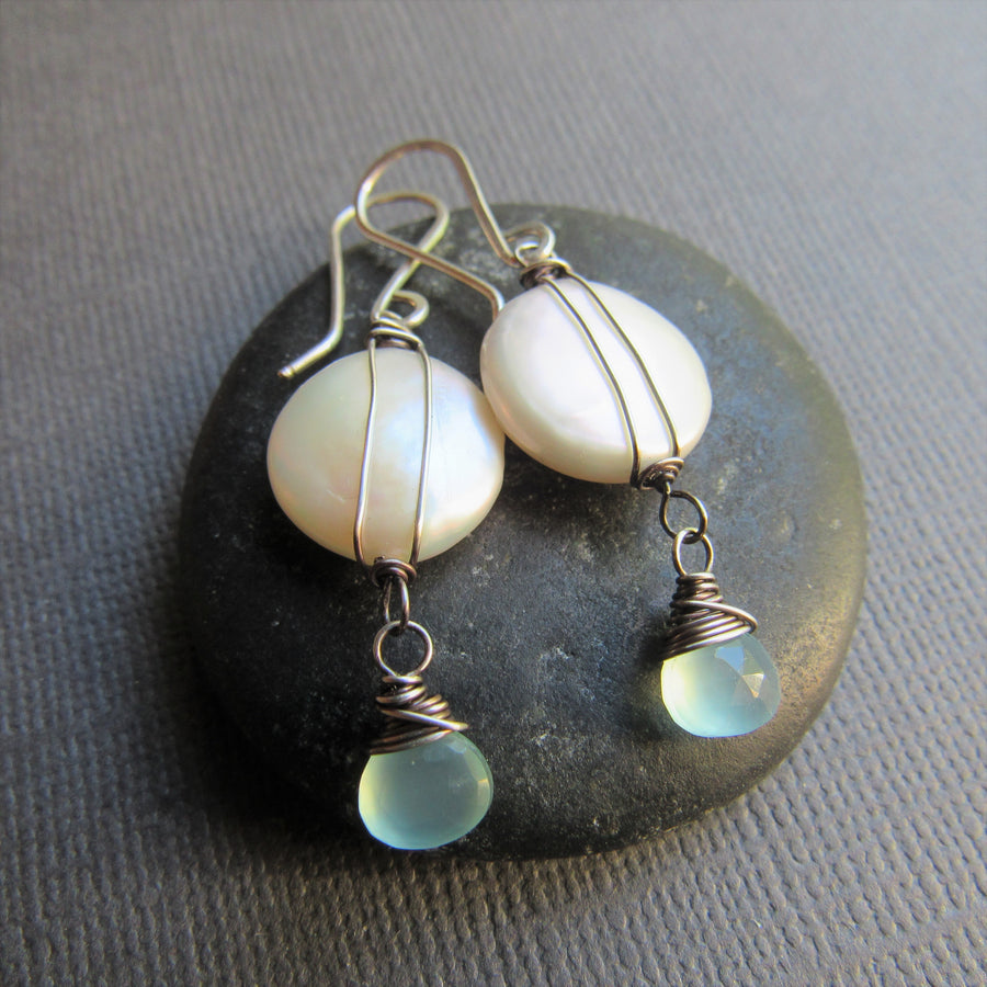 White Coin Pearls and Aqua Chalcedony Earrings