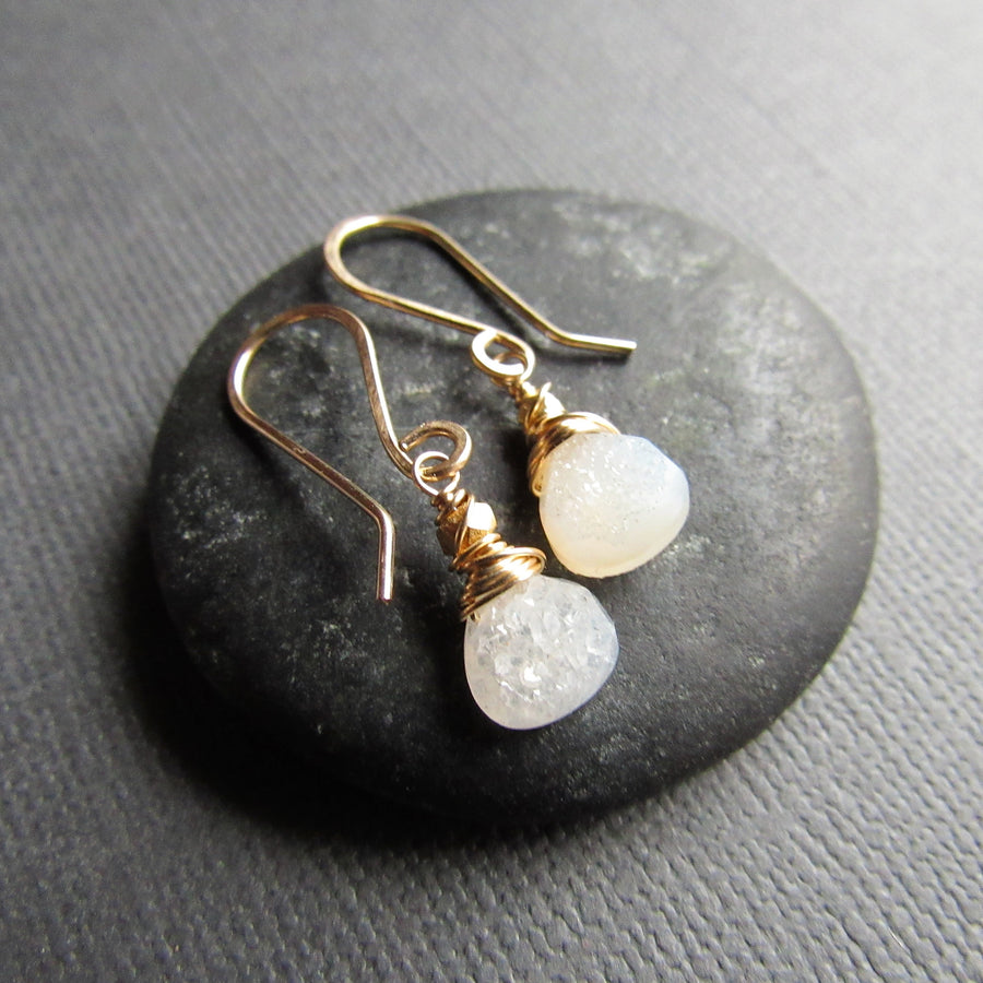 Petite White Druzy and 14k Gold Earrings