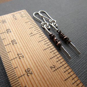 Sterling Silver and Copper Stick Earrings -Two Sizes