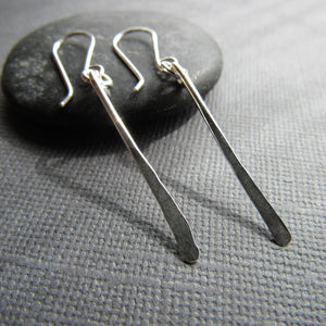 Small Minimalist Silver Bar Earrings