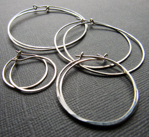 Hammered Sterling Silver Hoops - Four sizes
