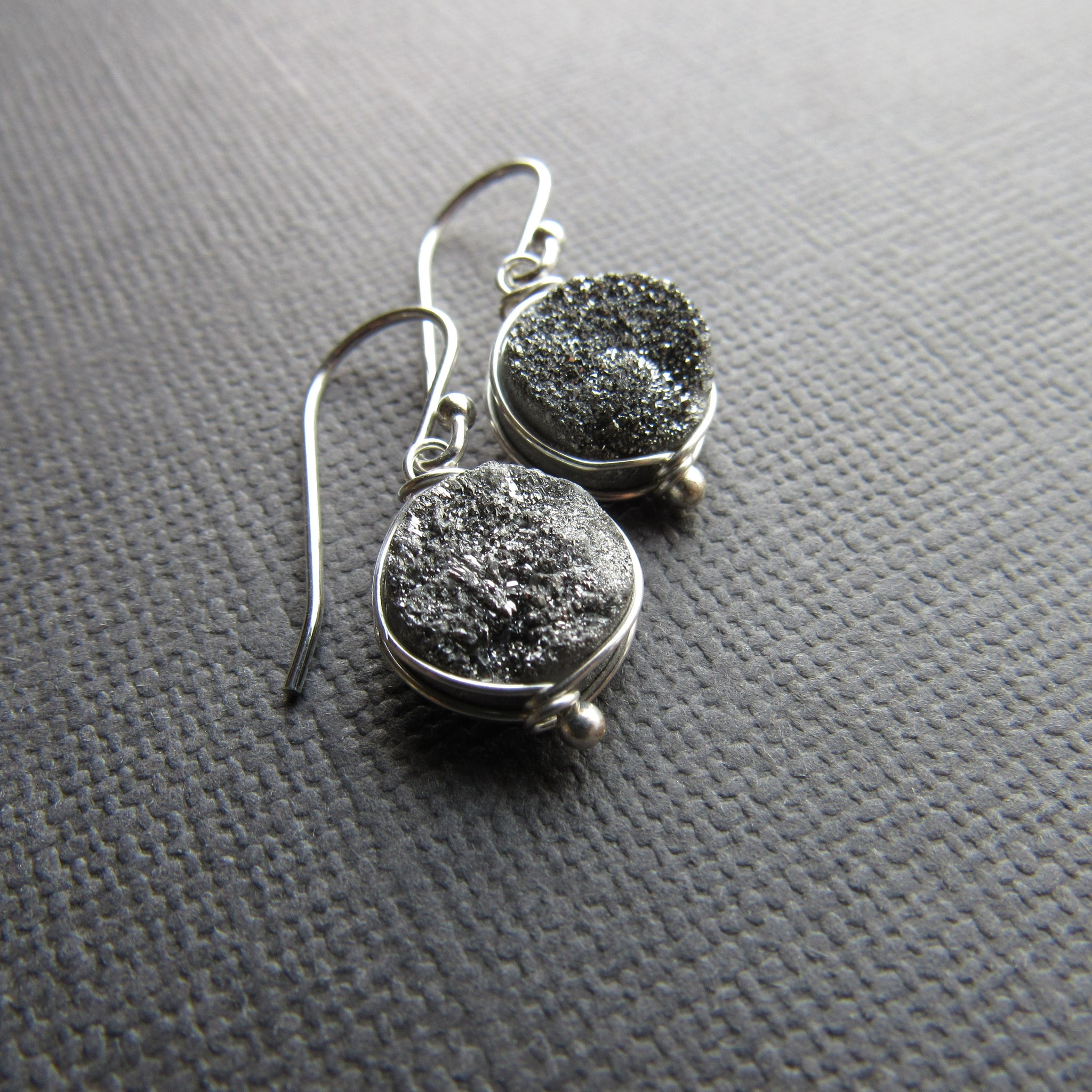 Silver Druzy Earrings