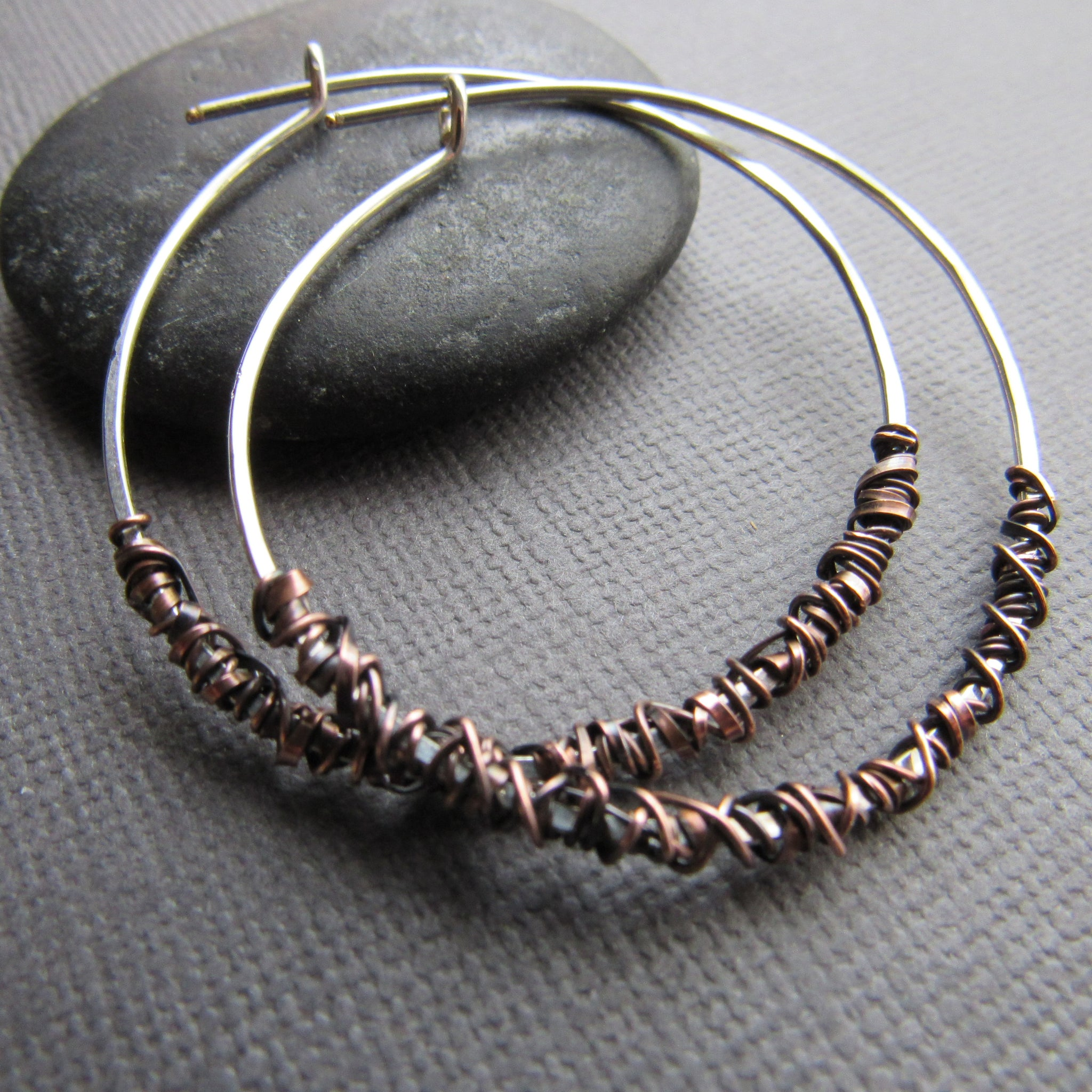 Copper Wrap Sterling Silver Hoops
