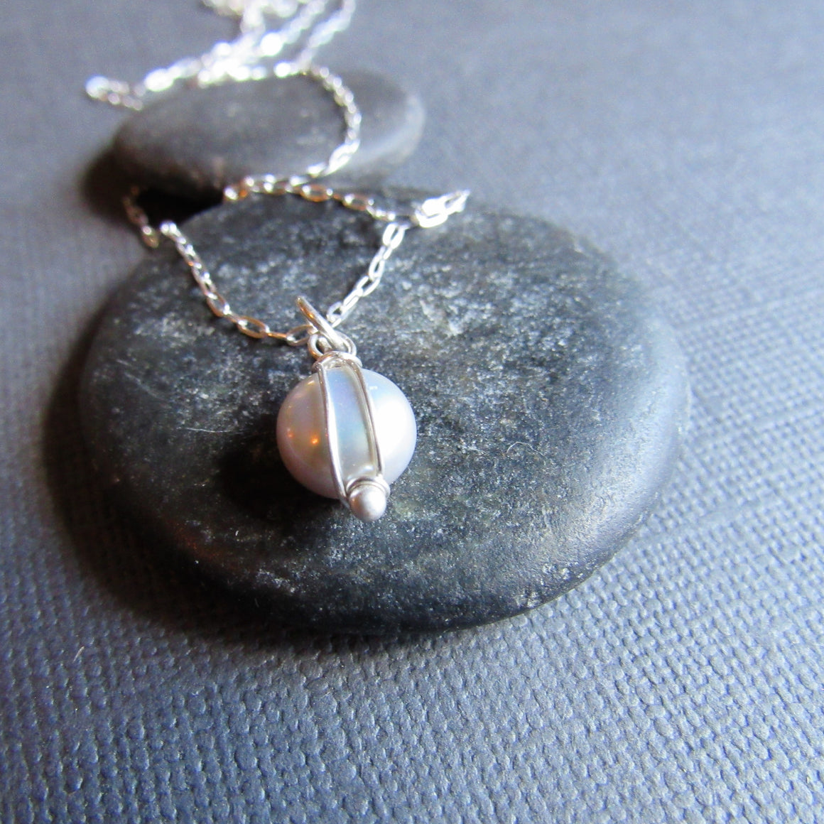 Petite Silver Coin Pearl Necklace