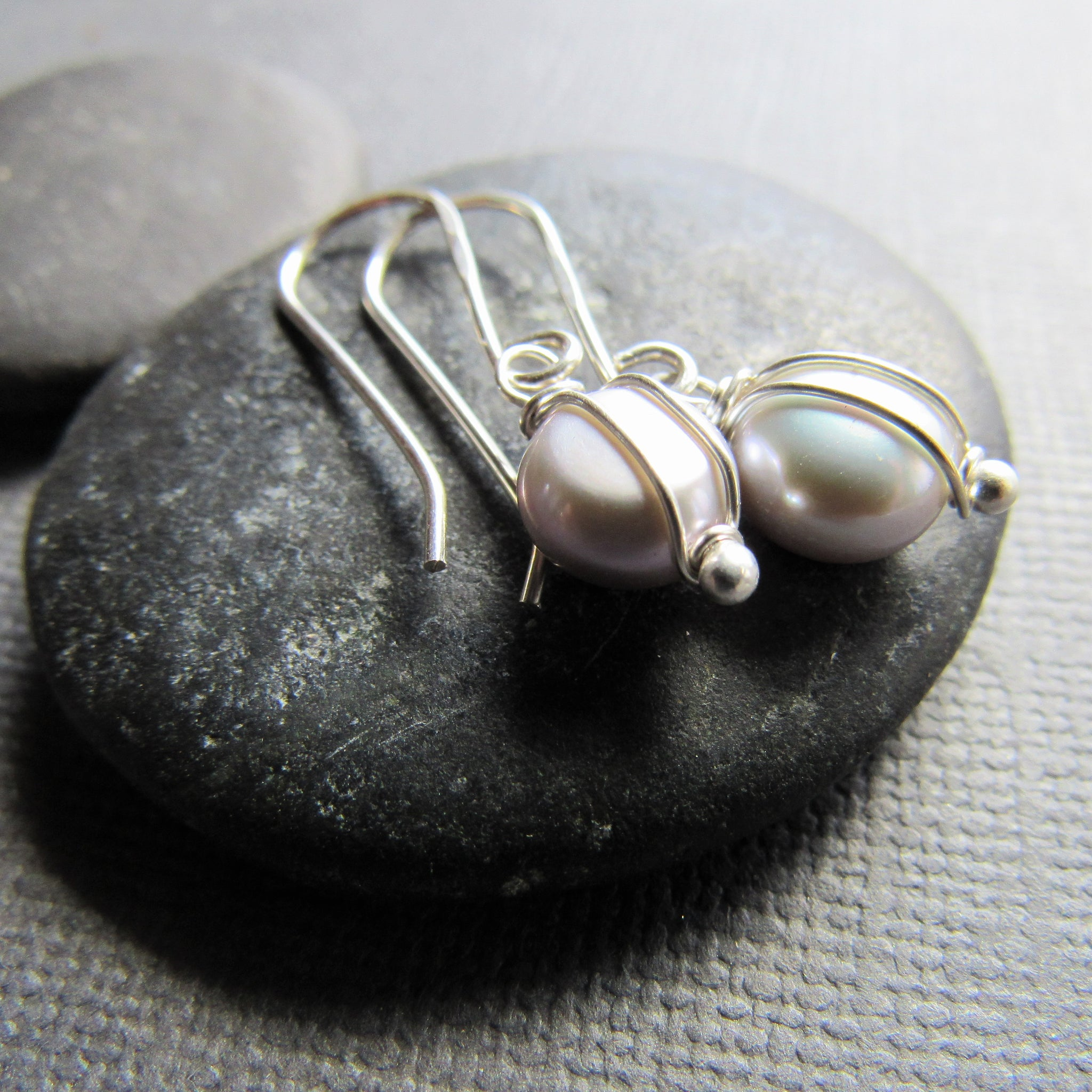 Petite Gray Coin Pearl Earrings