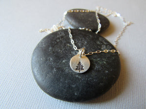 Petite Sterling Silver Stamped Tree Necklace