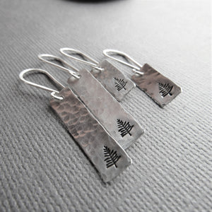 Sterling Silver Bar Earrings with Stamped Tree