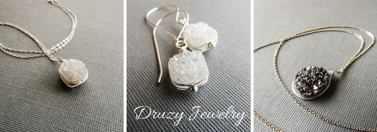 Druzy necklaces and earrings by Balsamroot Jewelry