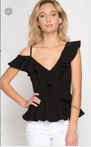 RUFFLED ONE SHOULDER PEPLUM TOP