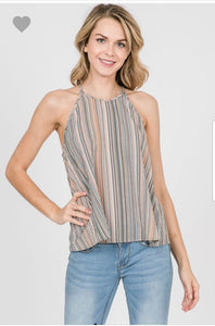 Stripe High Neck Tank Sleeveless Top