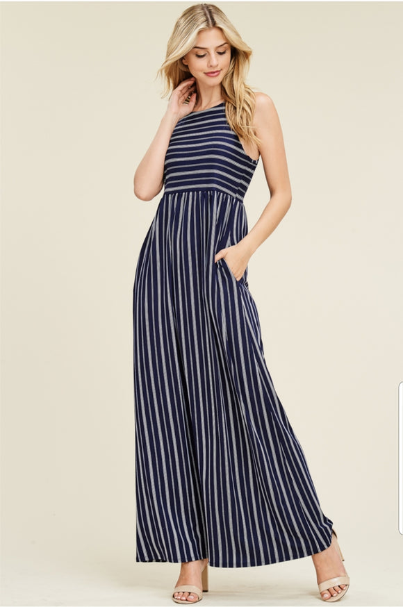 Sleeveless Striped Knit Maxi Dress