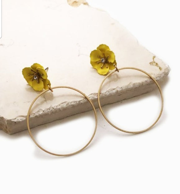 Mini Flower And Ring Earring