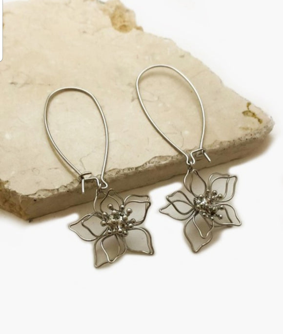 Flower Oval Hoop Earring