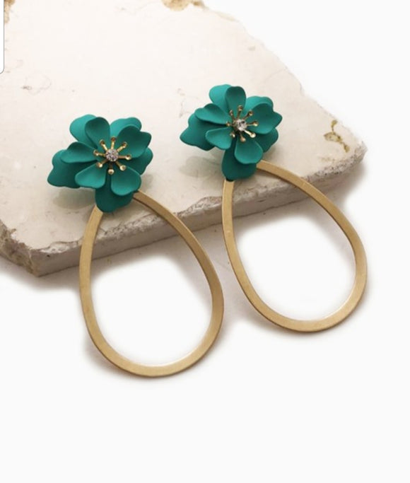 Mint Flower And Flat Teardrop Earring