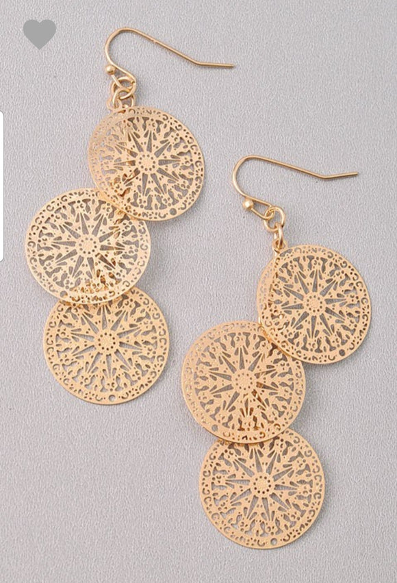 Long Gold Circle Earrings